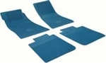 1967 - 1972 Camaro Floor Mats Set, Front and Rear, Rubber with Grippers, Medium Blue with Bowtie, OE Style