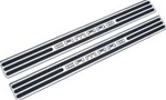 2010 - 2011 Camaro Logo Door Sill Plates, Two-Tone Finish (Black and Chrome)