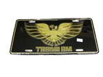 License Plate, TRANS AM on Black with Gold Background