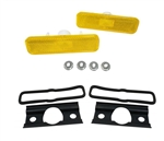 1970 - 1973 Camaro FRONT Fender Side Amber Marker Light Lens and Housing Assemblies Set, USA Made