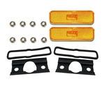 1974 - 1977 Camaro Correct Yellow / Amber Front Marker Light Lens and Housing Assemblies Set, USA Made