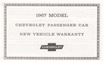 1967 Warranty Certificate Card, New Camaro