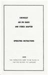 1967 Manual, Radio AM - FM Radio and Stereo Adapter Operating Instructions