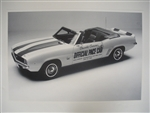 1969 Camaro Pace Car GM Dealership Show Room Poster, Black and White