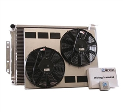 1967 - 1969 BB Big Block Aluminum Radiator, Griffin Performance Direct Fit Unit Combo Kit with Shroud and Fans. 26.24 x 18.63 GM Outlets,