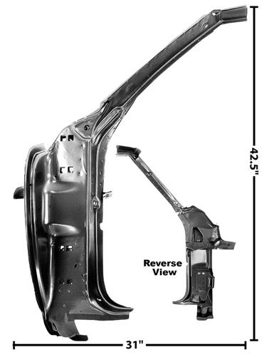 1969 Camaro Inner Door Hinge Frame And A Pillar Assembly, LH