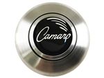 Custom Script CAMARO Logo Horn Cap for Wood or Comfort Grip Steering Wheel, Choose Brushed or Black Finish