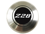 Custom SILVER Z28 Logo Horn Cap for Wood or Comfort Grip Steering Wheel, Choose Brushed or Black Finish
