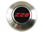 Custom RED Z28 Logo Horn Cap for Wood or Comfort Grip Steering Wheel, Choose Brushed or Black Finish