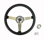 1967 - 1989 Steering Wheel Kit, Black Leather, Custom 14.5 Inch, Choice of Spoke Finish