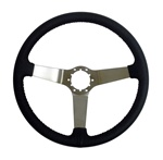 1967 - 1989 Camaro Black Leather Steering Wheel, Choice of Spoke Finish