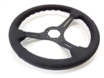 1967 - 1989 Camaro Custom Black Leather Steering Wheel with  BLACK Spokes