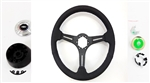 1967 - 1989 Steering Wheel, Black Leather, Custom, Black Spokes Kit