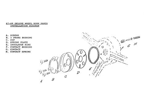 1967 - 1968 camaro horn cap mounting set, standard or deluxe steering wheels  camaro central