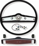 1969 Steering Wheel Kit, Standard, Black with Rosewood Shroud