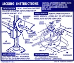 1969 Instruction Information Decal, Trunk Jacking, Convertible with Space Saver, 3949510