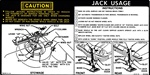 1974 - 1975 Instruction Information Decal, Trunk Jack, Regular Spare 341040