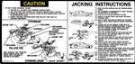 1980 Instruction Information Decal, Trunk Jack, All Models