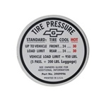 1967 Tire Pressure Decal, Build Date Before 11-16-66, 3909996
