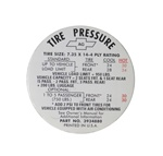 1968 Tire Pressure Decal, 3934880
