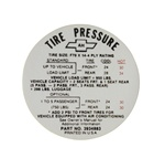 1968 Tire Pressure Decal, Super Sport, 3934883