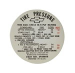 1968 Tire Pressure Decal, Z28, 3934882
