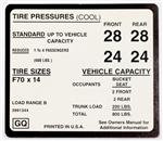 1970 Tire Pressure Decal, SS, F60 x 14