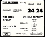 1971 - 1972 Camaro Tire Pressure Decal, E78 x 14, GW 3990529