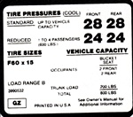1971 - 1972 Camaro Z28 Tire Pressure Decal, F60 x 15 GZ Code
