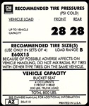 1975 Tire Pressure Decal, E60 x 15, AZ