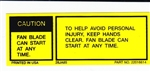 1985 Radiator Shroud Top Caution Fan Blade Decal, 22016614