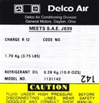 1979 Camaro Air Conditioning Compressor Decal, Delco 1131142