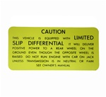 1970 - 1973 Caution Decal, Trunk Jack, Positraction with Limited Slip Differential