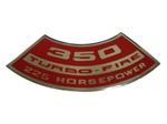 1967 - 1969 Air Cleaner Decal, 350 Turbo-Fire 255 HP