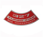1967 - 1969 Air Cleaner Decal, 327 Turbo-Fire 350 HP