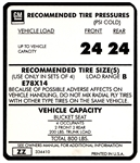 1970 - 1973 Tire Pressure Decal, E78 X 14, ZZ