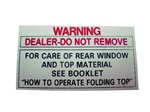 Convertible Top Warning Decal