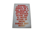 Fuel Recommendation Warning Decal, 103 Octane Research Level