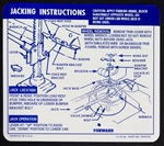 1967 - 1968 Instruction Information Decal, Trunk Jack, Space Saver, Convertible