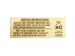 1967 - 1969 Air Cleaner Decal, Service Instructions, Open Element
