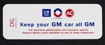 1969 Air Cleaner Decal, Keep Your GM Car All GM, Cowl Induction, DG