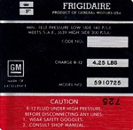 1968 Decal, AC Compressor, Frigidaire, Red