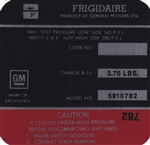 1971 Camaro Frigidaire Air Conditioning Compressor Decal, Red