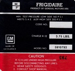 1972 Decal, AC Compressor, Frigidaire, Red