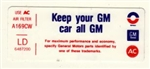 1972 Air Cleaner Decal, Keep Your GM Car All GM, 250, LD, 6487200