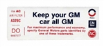1973 Air Cleaner Decal, Keep Your GM Car All GM, Z28, DO, 6487577