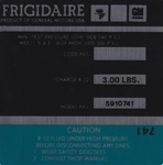 1974 - 1976 Decal, AC Compressor, Frigidaire, Green