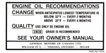 1970 - 1973 Decal, Oil Change, Canada