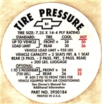 1968 Tire Pressure Decal, Heavy Duty Suspension, BX