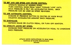 1967 - 1969 Instruction Information Decal, Cruise Control